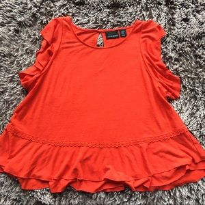 Cynthia Rowley red linen top shirt blouse sz XL